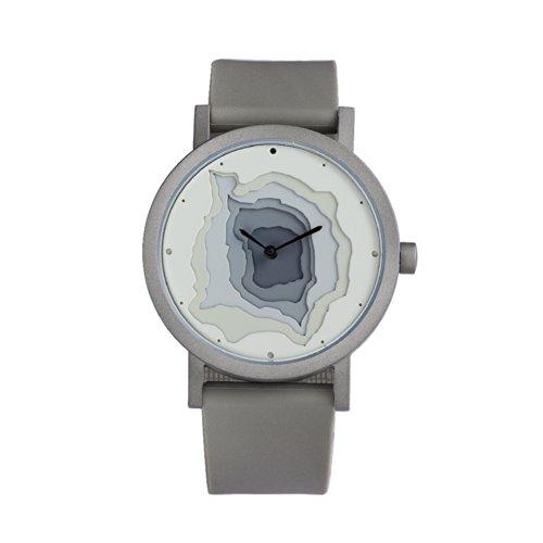 Projects Watches (Site) Terra Time - Reloj unisex de acero inoxidable cepillado y silicona, color gris