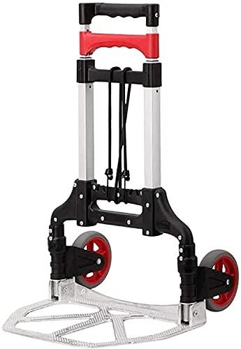Eortzpc Carretilla de Mano Trolley Aluminio Plegable Equipaje Coche Mute Rueda Rueda Trolley Inicio Viajes Compras Mano portátil Trucks,Carro de Mano de Uso múltiple