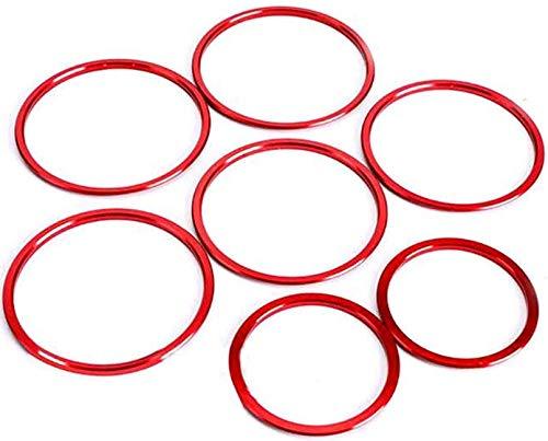 Overdrive-Racing 7X Lüftungsringe Blenden Alu Rot Abdeckung Zierringe Innere Ringe Lüftungsdüse Passend Für C-Klasse W205 GLC X253