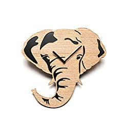 Driini Wooden Elephant Wall Clock with Light, Richly Colored Wood Face overlying a Dark Backing - Battery Operated with Analog Silent Sweep Movement - Perfect Home Decor or Gifts for Elephant Lovers