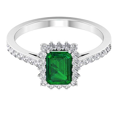 Art Deco Engagement Ring,1 Ct 7X5mm Solitaire Emerald Ring, 1/2Ct HI-SI Diamond Halo Sidestone Ring, Octagon May Birthstone Ring, Unique Wedding Ring, 14K Yellow Gold, Size:UK W1/2