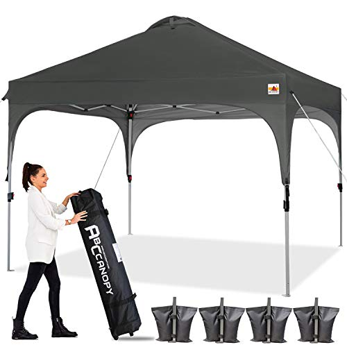 ABCCANOPY Canopy Tent 10x10 Pop Up Canopy Outdoor Canopies Super Comapct Canopy Portable Tent Popup Beach Canopy Shade Canopy Tent with Wheeled Carry Bag Bonus 4xWeight Bags,4xRopes&4xStakes,Dark Gary