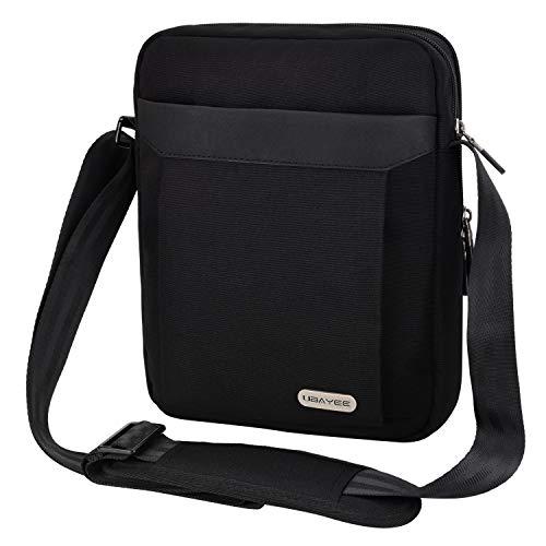 UBAYEE Borsello Uomo Tracolla iPad Tablet fino a 11 Pollici (25 cm),Impermeabile Borsa a Spalla per Viaggio Ufficio Business - Nero