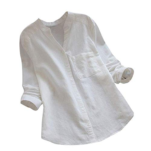 Bluse Damen V Ausschnitt Langarmshirt Wesentlich Elegant Lose Langarm Vorne Kurz Hinten Lang Blusen Casual Hemdblusenkleider (Color : Zz-White, Einheitsgröße : M)