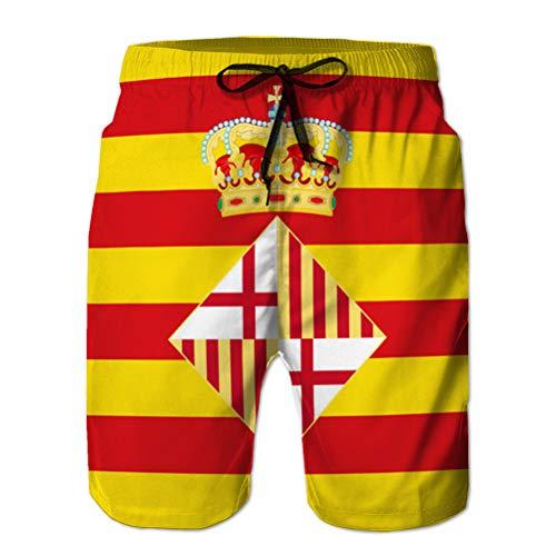 LJKHas232 Shorts de baño de Playa para Hombre, bañador, Bandera de Barcelona en españa L