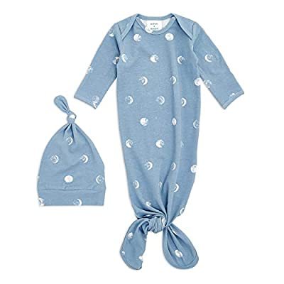 aden + anais Comfort Knit Knotted Newborn Baby Gown and Hat, Super Soft Cotton with Spandex, Infant Gown with Fold Over Mitten Cuffs, 2 Piece Set, 0-3 Months, Blue Moon