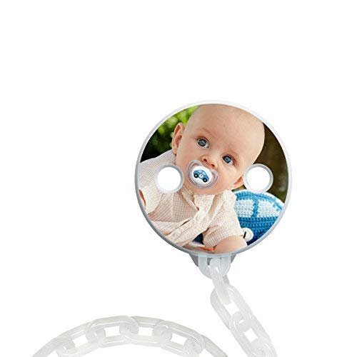 NUK Foto-Schnullerkette zum selbst Gestalten, praktisches Clip-System für leichteres Öffnen und Schließen, BPA frei (weiß), myNUK1025PC