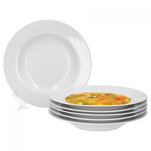 Van Well Trend 6er Set Suppenteller, tief Ø 23 cm weiß Porzellan Geschirr Teller