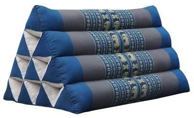 Wilai Kapok Thaikissen, Yogakissen, Massagekissen, Kopfkissen, Tantrakissen, Sitzkissen - blau/dunkelgrau Elefant (Dreieck 52x30x34 (81700))