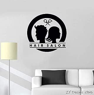Hair Salon Logo Tatuajes de pared Unisex Barber Shop Etiqueta de la pared Propietario Estilista Peluquería Window Decal Desmontable Arte Mural 58x56cm