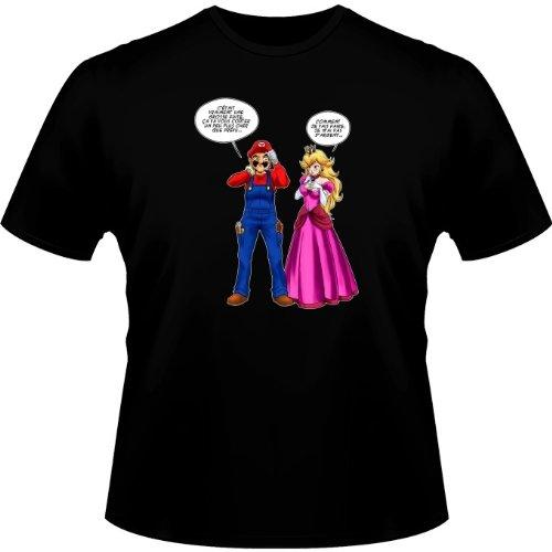 Okiwoki T-Shirt Jeux Vidéo - Parodie Mario et Peach - Le Plombier et la Blonde pulpeuse. - T-Shirt Homme Noir XL