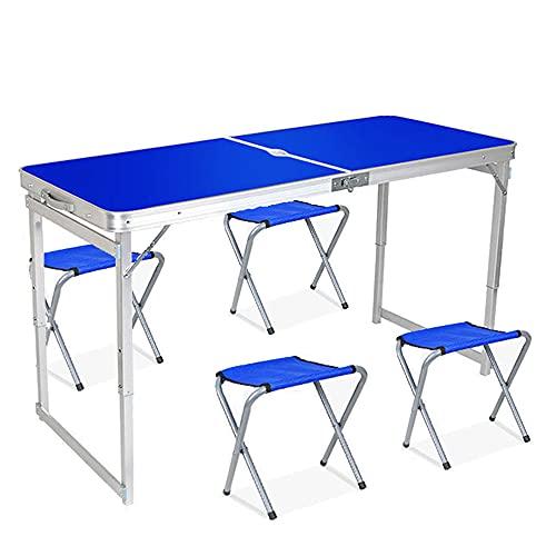 Rund Tabla De Pique-Nique Plante Et Plage Set De Table Et Chaises En Allev D'Aluminum Avec 4 Sièges Pour Intérieur, Extérieur, Camping, Fête, Barbacoa, Jardin(Color:Azul)