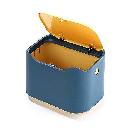 YAGGOOD Kleiner Schreibtisch-Mülleimer mit Deckel für Kinder, Mülleimer für klassischen Schreibtisch, Schreibtisch, Schlafzimmer, Büro, Tisch-Mülleimer in Blau und Gelb