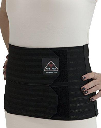 ITA-MED Women's Breathable 9 Inch Wide Post-Partum Abdominal Support Binder, Black, Medium, 1 Pound