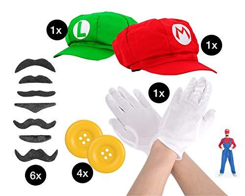 TK Gruppe Timo Klingler 2er Set Super Mario Kostüm mit Handschuhen, Schnurrbart, Mützen, Knöpfen als Kostüm für Fasching & Karneval