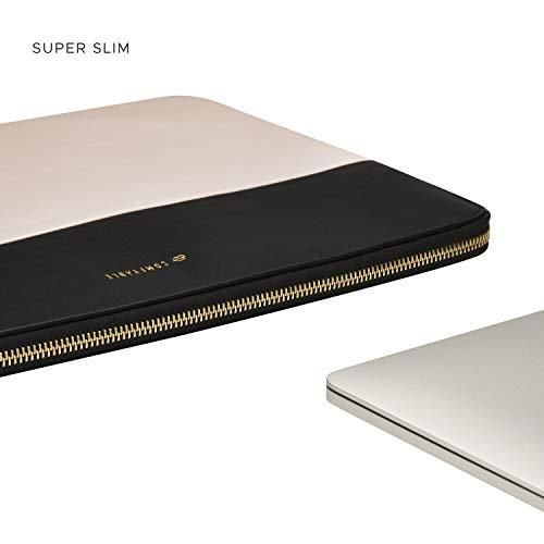 Comfyable 13-13,3 Zoll Laptop Sleeve Kompatibel mit 13 Zoll MacBook Air & MacBook Pro für Frauen, PU Leder Tasche Wasserdicht Cover Notebook Computer Case, Hellbeige & Schwarz