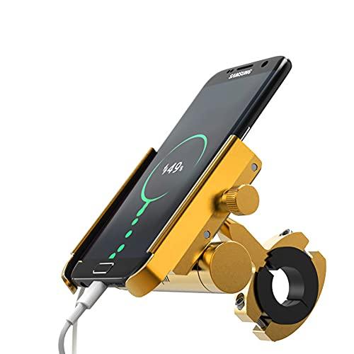 2 en 1 Soporte para Teléfono Bicicleta,MoreChoice 5V/1.5A Soporte Cargador de Teléfono Universal Soporte para Espejo Retrovisor Abrazadera Ajustable para Teléfonos Celulares de 4-6.5 Pulgadas,Amarillo