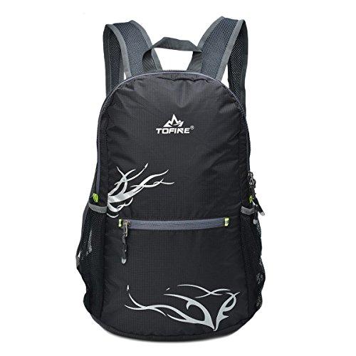 TOFINE Waterproof Beach Bag Zipper Packable Backpack for Travel Teen Girls Black 15 Liter