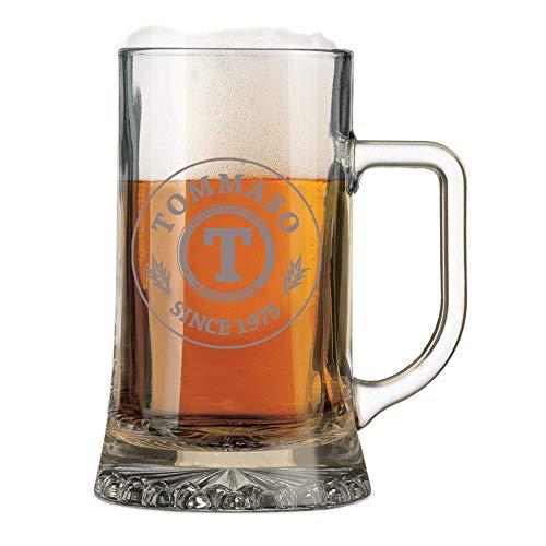 Boccale da Birra con Incisione Personalizzabile Compleanno - Since - personalizza con Nome e Anno - Bicchiere in Vetro 50 cl