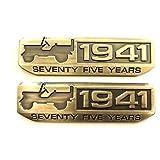 【TERA】【2枚セット】75周年1941年記念エンブレムメタルJEEPジーププレートSEVENTY FIVE TEARS (ゴールド)