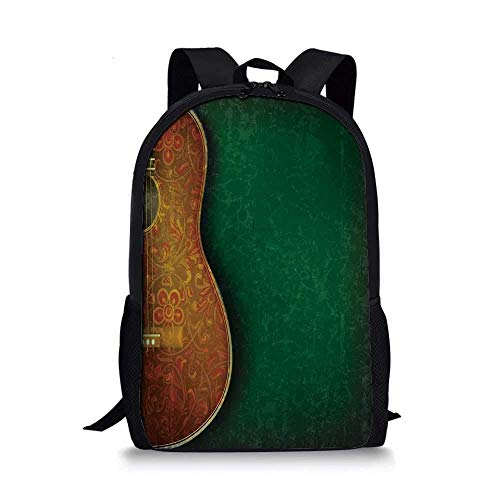 AOOEDM Backpack - Mochila Escolar con Estilo para Guitarra, patrón de Instrumentos Florales Vintage, acústico con patrón de Pared Desgastado, Decorativo para niños, 11 'L x 5' W x 17 'H