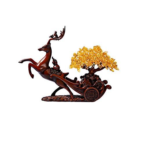 Decoración de escritorio Simple Moderno Moderno Muebles Ciervos Estatua Apertura Regalo Ciervo Lucky Crystal Tree Resin Deer Figurine Showieces Adorno Artesanal decoración para el hogar, oficina