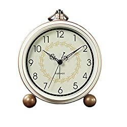 Maxspace Alarm Clock, Retro Non-Ticking Table Clock Battery Operated Small Alarm Clock with Quartz Analog, Desk Clock for Bedrooms Living Room Decor Kids (Arabic)