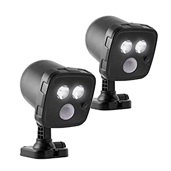 Energizer 58345 2-Pack Activated Wireless LED Spotlight 300 Lumens Battery-Operated Light Tilts & Swivels Up to 120° Motion 25ft Detection Range Wall Mount Black 2 Pack