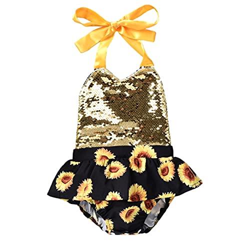 Shaohan Mono para bebé con espalda descubierta, body de una sola pieza, mono de girasol, conjunto de vestir, sin tirantes, corbata, ropa de bebé amarillo 60 cm