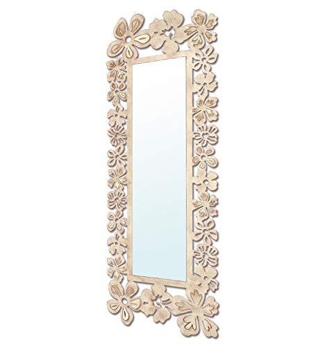 Espejo vestidor de forja Modelo Flores - 6-Negro, apaisado