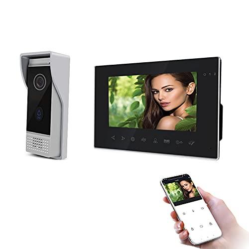 Jeatone Wifi Videoporteros con cable de 7 pulgadas, timbre con cable de cámara 720P, audio video bidireccional, IP65, instantánea móvil, vigilancia activa, desbloqueo remoto, hablar, grabar