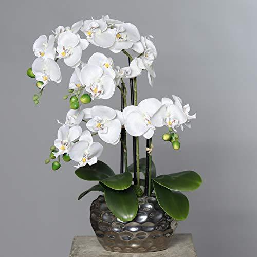mucplants Künstliche Orchidee Phalaenopsis Weiß H. 50cm Keramiktopf Silber Kunstblume Kunstpflanze Kunstorchidee