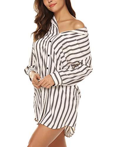 BESDEL Womens Cotton Nightshirt, Boyfriend-Stil oberhalb der Knielänge Sleepshirt Weiß XL