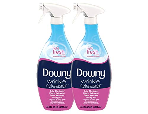 Downy Wrinkle Release Spray Plus, Light Fresh Scent, 67.6 Total Oz (Pack of 2) - Fabric Refresher, Odor Eliminator, Anti Static & Iron Aid