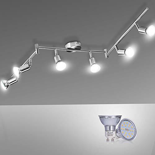 Lampadario da Soffitto Luce Bianco 4500K, Bojim Faretti LED da Soffitto Orientabili con 6 Luci GU10 600LM 6W Pari a 54W 220V, Lampadario moderno per Camera letto Salotto Soggiorno Cucina Corridoio