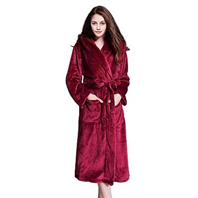 Long Hooded Bathrobe, Unisex Adult Plush Flannel Fleece Bath Robe