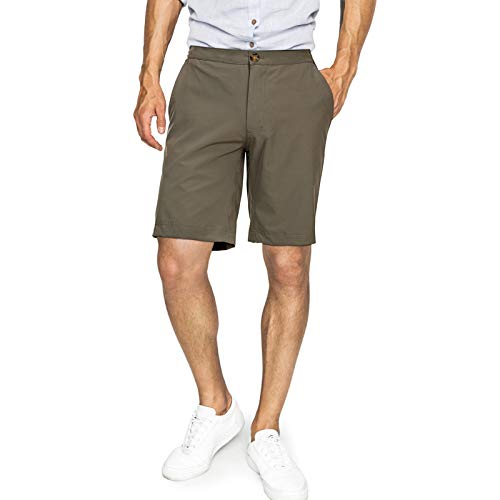 33,000ft Mens Daily Shorts with Elastic Waist Drawstring Summer Casual Sports Shorts for Hiking, Camping, Dating, Working Moss Green