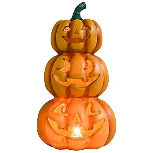 Lvydec Halloween Pumpkin Lights Decorations, Pre-Lit Jack-o-Lantern Halloween Pumpkins Figurine with...