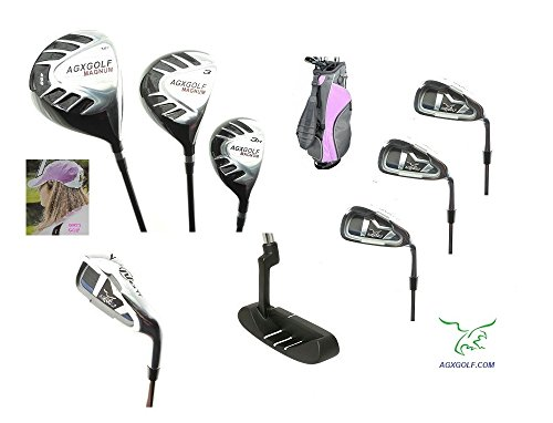 AGXGOLF Girls Right Hand Magnum Edition Golf Club Set w460cc Driver, Fairway Wood, Hybrid, 6, 8 Irons, Wedge, Bag & Free Putter; Tween, Teen or Tall Length Clubs Built in The U.S.A.