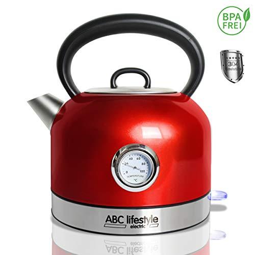 ABC Lifestyle Wasserkocher Edelstahl Retro Design mit Temperaturanzeige - 1,7 Liter Vintage Retro Edelstahl Teekessel, Cool Touch Griff, Abnehmbarer Kalkfilter