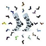 Sesto Senso Lustige Baumwolle Socken Damen Herren 1-3 Paare Bunte Ungleiche Funny Socks Marihuana Blätter 43-46 Blatt Weiß Schwarz