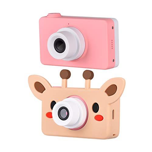 Funkprofi Digitalkamera für Kinder Kinderkamera mit Cartoon Giraffe Schutzhülle Kidizoom Kids Kamera Fotoapparat Full HD 1080P 8 Megapixel 2 Zoll HD Bildschirm Rosa