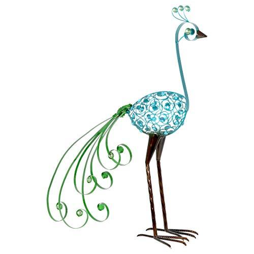 Exhart Gartenfigur aus Metall, filigran, blauer Vogel mit grünem Schwanz, 71 cm 28 Inch Blauer Vogel