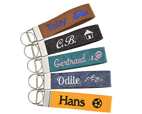 Schlüsselanhänger bestickt mit Name und Symbol in 34 Filz-Farben - mit Text, personalisiert, Bestickung Name Wunschtext Schlüsselband