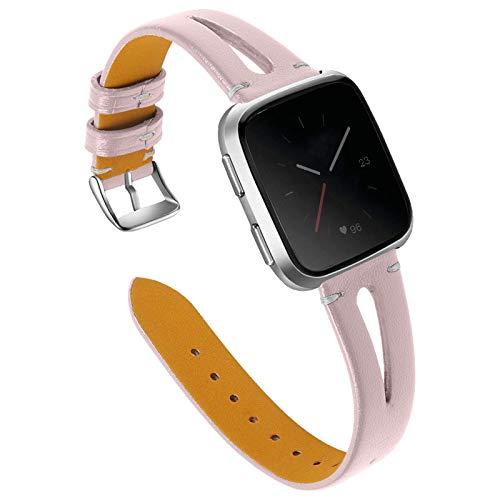 XIALEY Correa Compatible con Fitbit Versa 2 / Fitbit Versa/Fitbit Versa Lite, Mujeres Straps Slim Leather Reemplazo Pulsera Banda Compatible con Versa 2 / Versa/Versa Lite,E