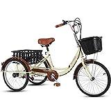Dreirad Für Erwachsene Fahrrad Mit 7-Gang Cityräder Mit Warenkorb Doppelbremse Hoher...
