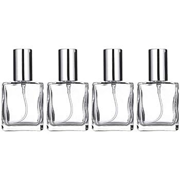 OSALADI 4 Pcs 15ml Transparent Square Flat Spray Bottle Glass Empty Spray Bottle Perfume Liquid Dispenser for Makeup Skin Care  Silver Lid