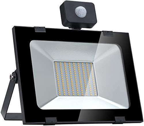 100 W LED-Scheinwerfer, LED-Scheinwerfer mit Bewegungsmelder, Außenwandleuchte für Garten, Garage, Sportplatz oder Golfplatz