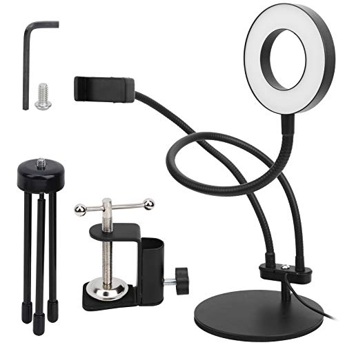 PUSOKEI 3.5in Clip‑On LED Fill Cold/Warm Light,Dimmable Ring Lamp with Phone Holder for Live Streaming/Video Recording/News Interviewing,Plastic + Aluminum Alloy
