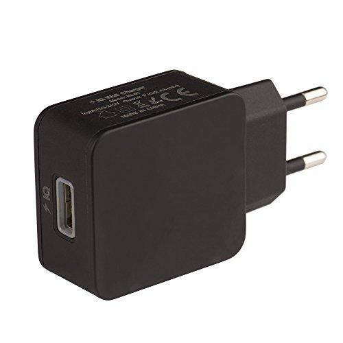 Tecnan Cargador USB 2,4A Power IQ Fuente Cargador Conector Adaptador Charger para iPhone, iPad, Samsung Galaxy [Negro]